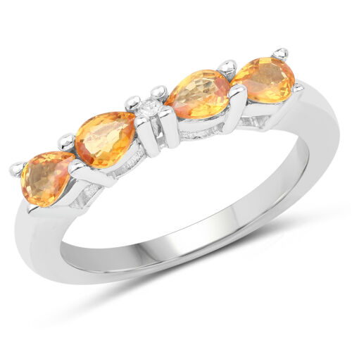0.61 ct Genuine Yellow Sapphire /& Diamond 925 Sterling Silver Engagement Ring