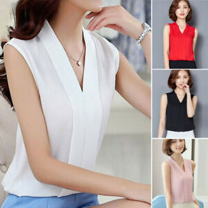 Elegant-Women-Office-Work-Wear-V-Neck-T-Shirt-Sleeveless-Chiffon-Tops-Blouse-Hot