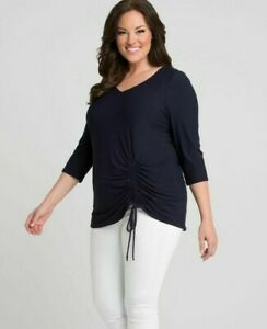 Kiyonna-Women-039-s-Top-4X-Navy-Blue-Rory-Ruched-Style-Made-In-USA-Plus-Size