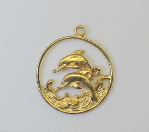 14K-Yellow-Gold-Summer-Beach-3D-Dolphin-Scene-Charm-Pendant-Not-Scrap-9g
