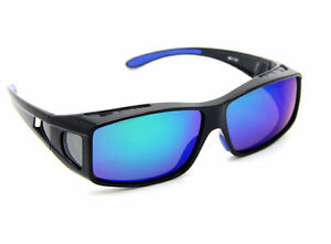 Mens-sunglasses-polarized-Fit-Over-Glasses-Black-Frame-Blue-Lens-UV-400