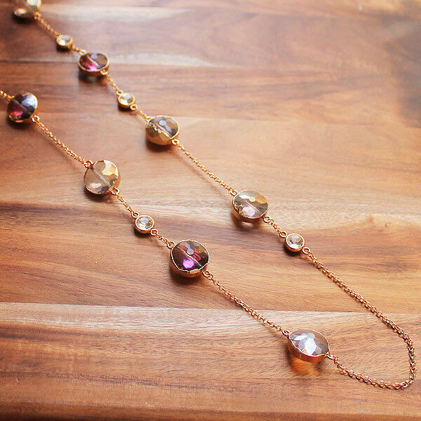 Long Gold & Pink Crystal Necklace