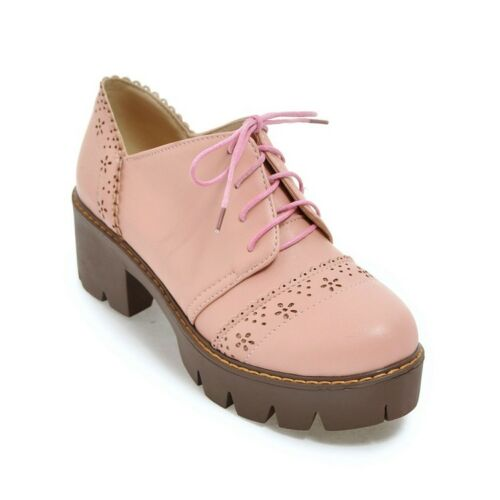 Lace Up Mid Block Heel Solid Oxfords Womens Collegiate Casual Shoes Autumn Sizes