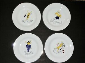 "8 1//2/"" Christmas Plate Mint Pottery Barn Rudolph Reindeer Salad Dessert Plate"