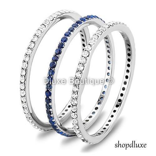 Women/'s Round Cut CZ 3 Piece Eternity Anniversary Wedding Ring Band Set Sz 5-10