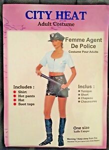 Adults-Sexy-Female-Police-Officer-Costume-Fancy-Dress-Outfit-PVC-one-size