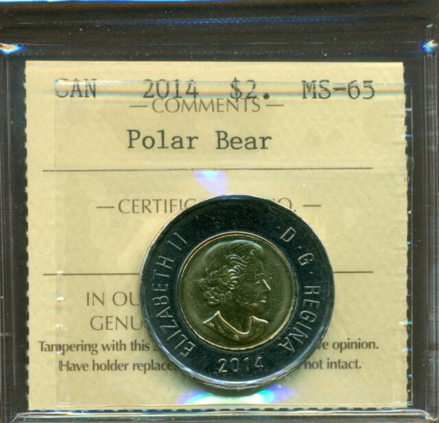 2014 Canada Two Dollars ICCS MS-65
