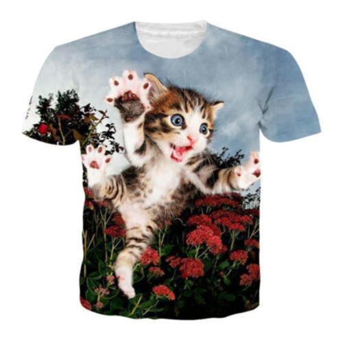 New Women Men Flower Cute Cat Print Casual 3D T-Shirt Short Sleeve Tops Tee
