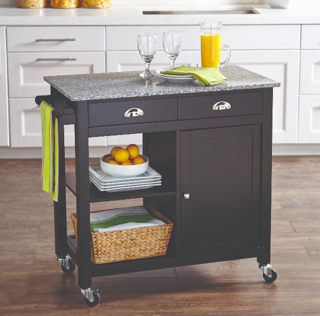 Kitchen Island Granite Counter Top Cart Wood Cabinet Rolling Table Mini Bar Rack