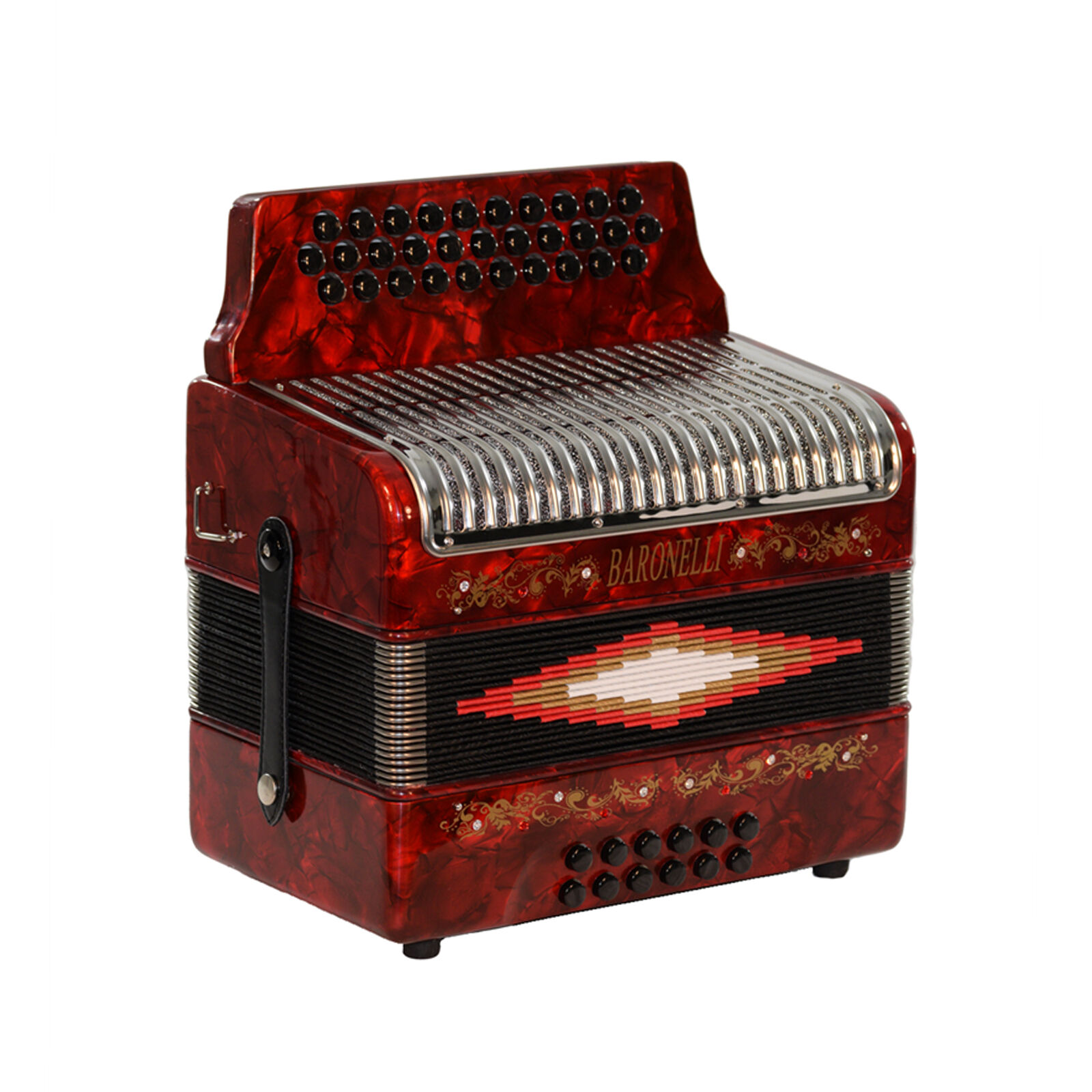 Baronelli 31 Button 12 Bass Accordion, GCF, Stainless Steel Grill, rot