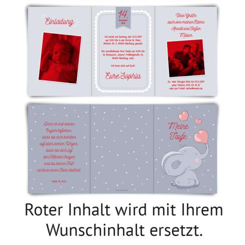 EInladungskarten Taufe Taufkarten individuell Foto Wickelfalz Herz-Elefant
