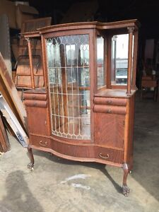 Details About Antique Oak China Cabinet Leaded Glass Door Beveled Mirrors