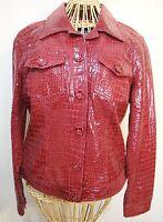 Berek2 Lambskin Leather Red Jacket Womens M Reptile Print 52944