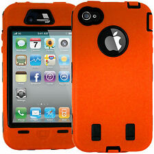 HARD ShockProof CASE ORANGE COVER FOR APPLE IPHONE 4 4S 4G With Screen Protector