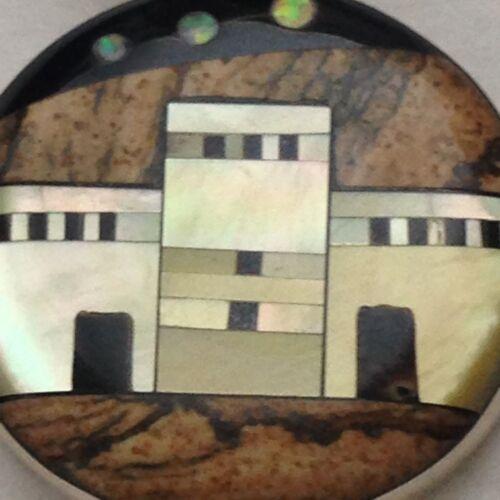 Sterling Silver Handmade Inlay Stone Round Circle Pueblo Pendant