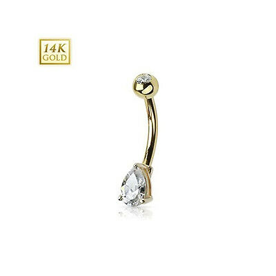 Belly Button Ring 14K White Gold Pear Shape Tear Drop clear Prong Set 14g