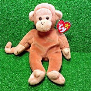 Retired-Ty-Beanie-Baby-Bongo-The-Monkey-1995-Rare-PVC-Pellets-With-Errors-MWMT