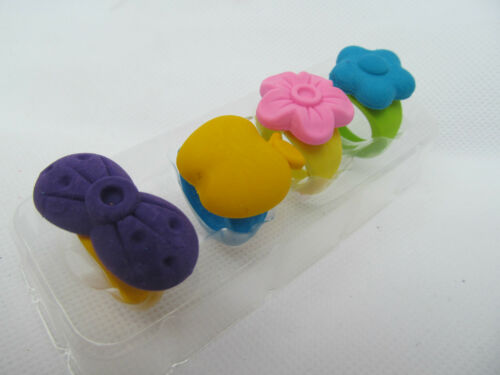 SET OF 4 CUTE GIRLS FASHION RINGS STYLE RUBBERS ERASERS PARTY BAG GIFT UK SELLER