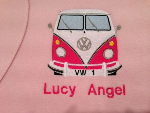 Personalised Embroidered Baby Blanket Splitscreen Campervan 1 Name /& Wrapped