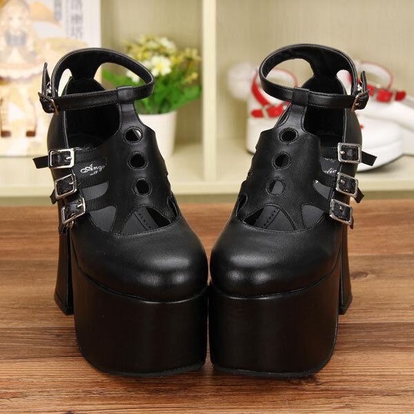 Schwarz Gothic Goth Punk Lolita Damen-schuhe Pumps Plateau high heels Cosplay