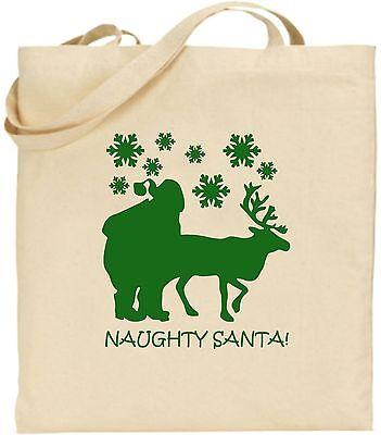 Ungezogen Santa Groß Baumwolle Einkaufstasche Weihnachten Bag Weihnachtsgeschenk