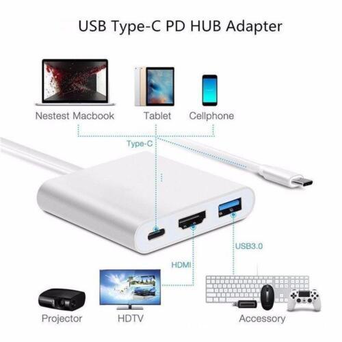 AU USB-C to HDMI VGA USB 3.0 Charging Hub Adapter For Samsung Galaxy S8 S8