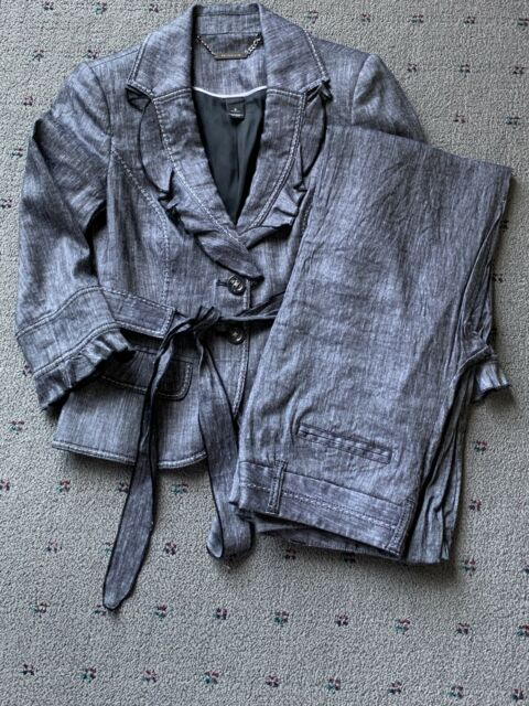 NWOT WHBM Summer Suit Blue Denim/ Linen Look 0