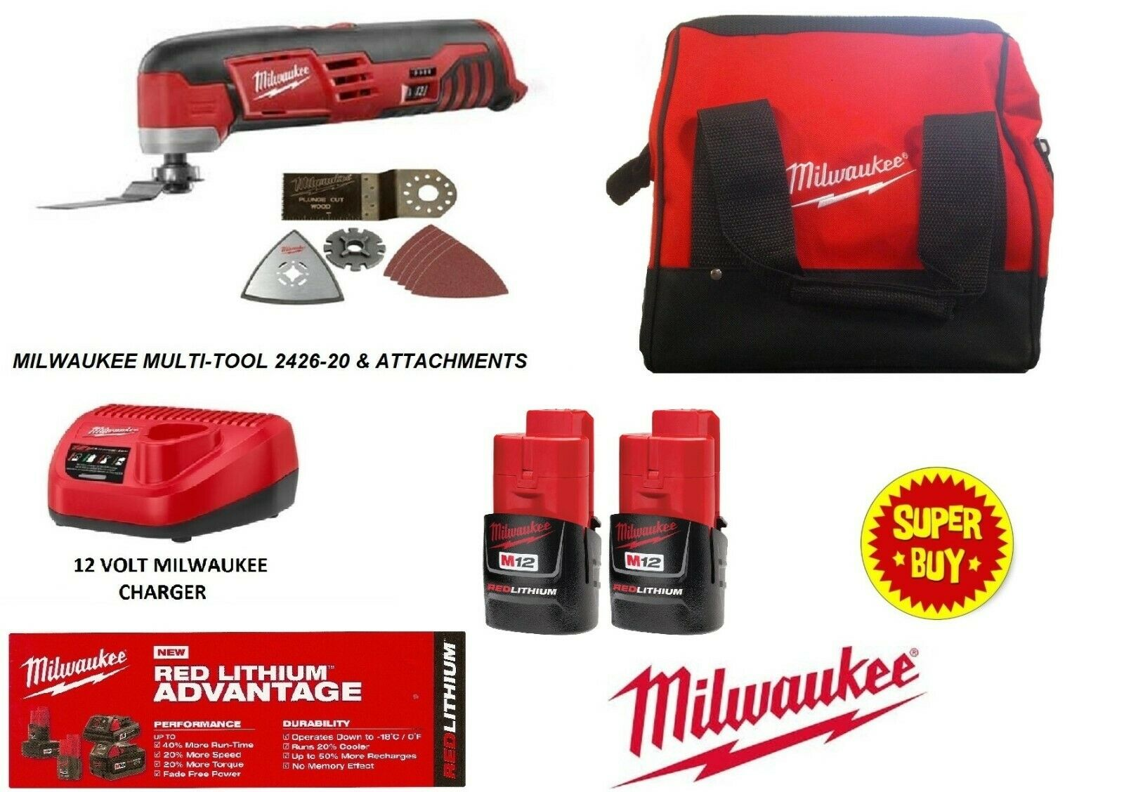 New M12 12 Volt Lithium-Ion Oscillating Cutting Multi Tool 2-Battery Kit 2426-22