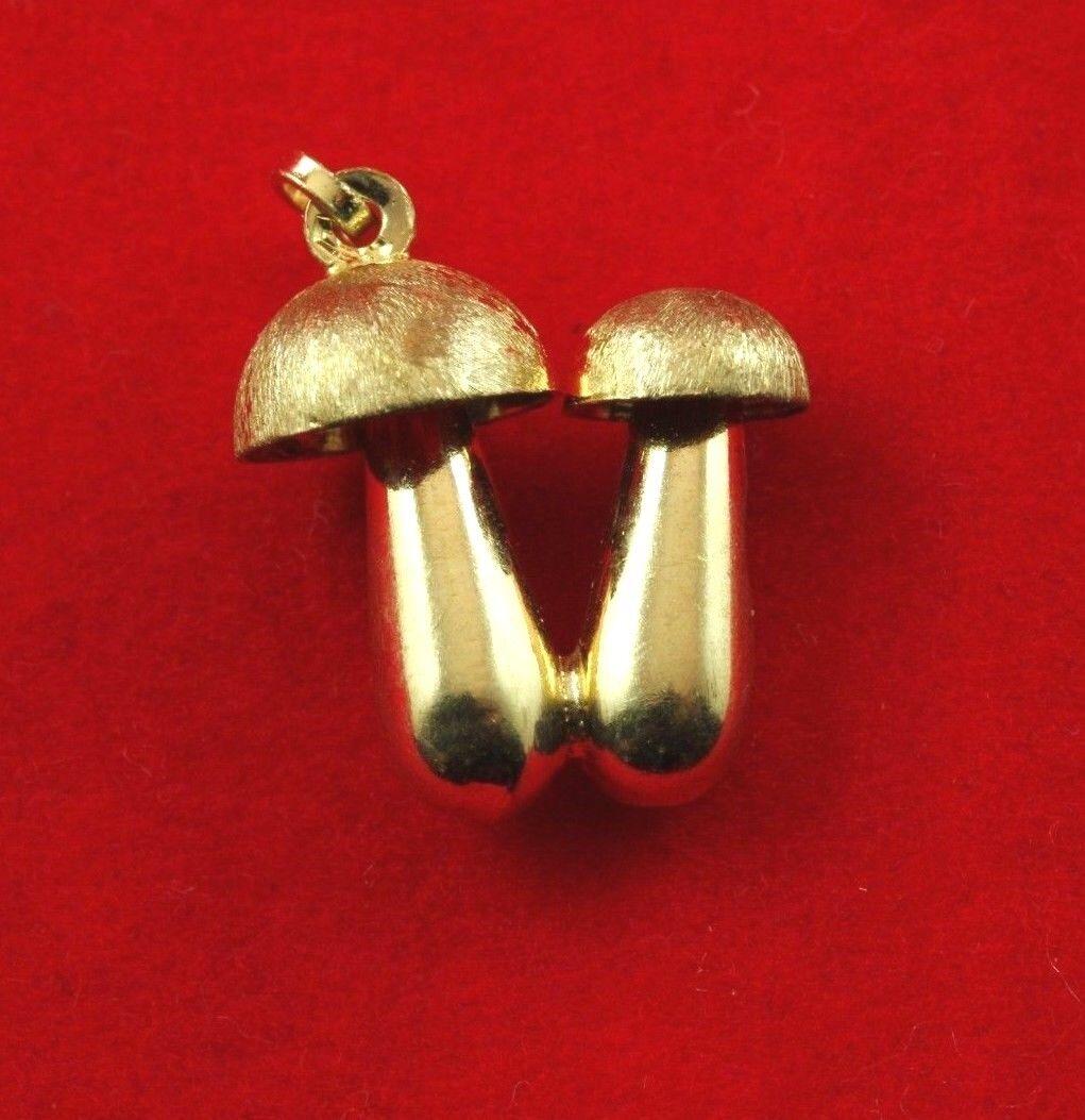 NEW 9ct Yellow gold Mushroom Charm 375 Pendant 9K 9KT Food Topping Happy