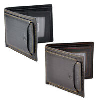 New Men's Leather Bifold Wallet ID Card  Clutch Bifold Slim Purse Money Clip