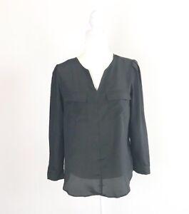 Mossimo-Womens-Sz-PM-Sheer-Long-Sleeve-Blouse-Black-Tunic-Top-w-Pockets