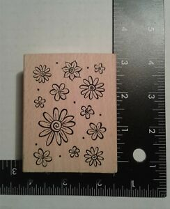 12-Flowers-amp-Dots-Mounted-Rubber-Stamp