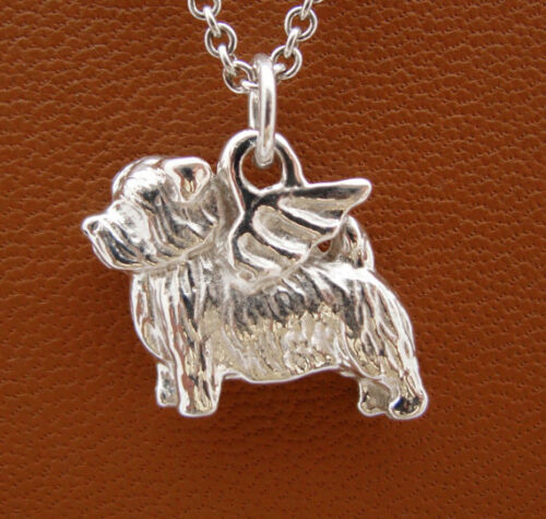 Sterling Silver Norfolk Terrier Angel Pendant