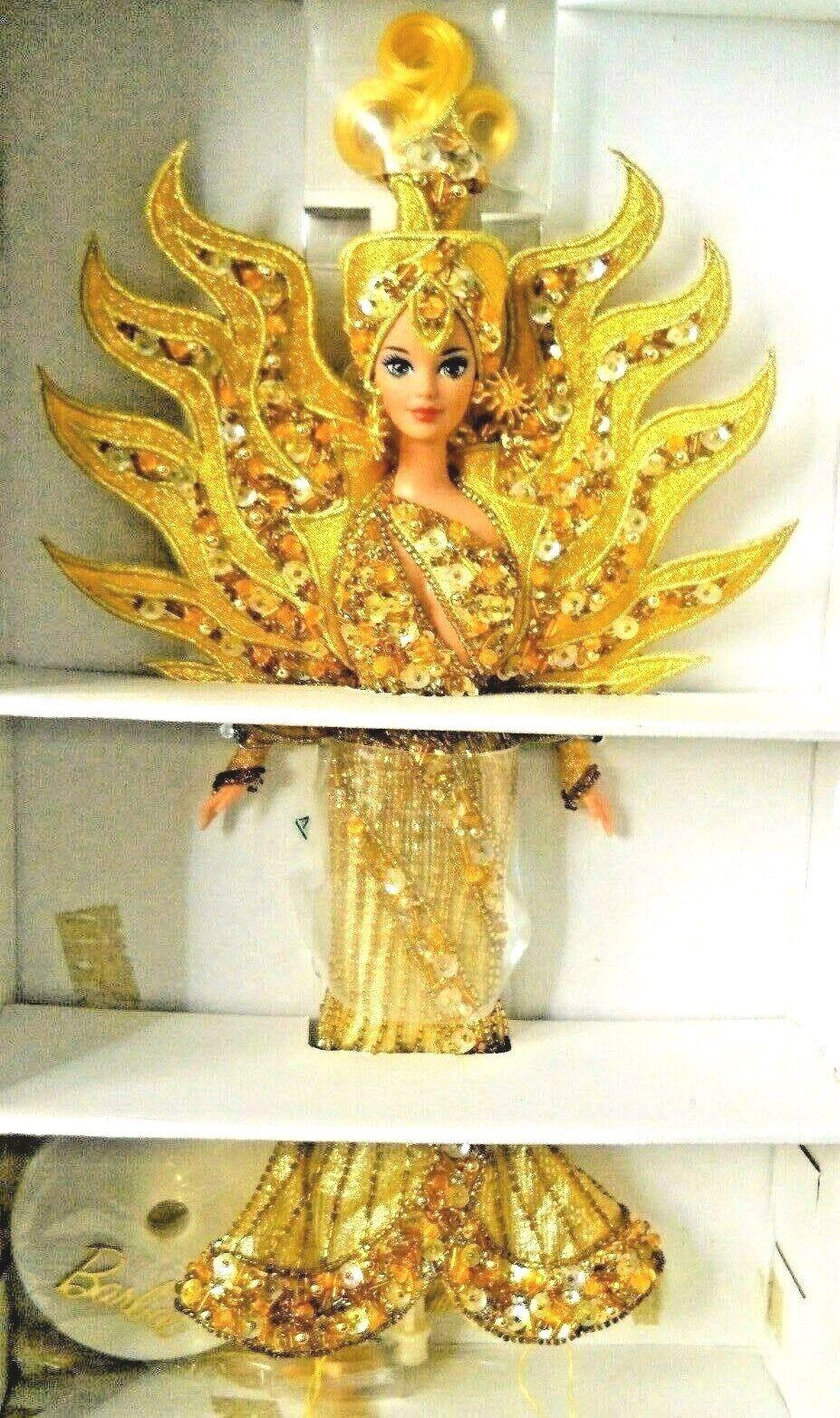 Bob Mackie 1995 diosa del Sol Barbie W Firmado Dibujo, Soporte, caja Original