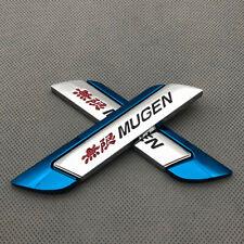 Pair Blue Metal Mugen Emblem Logo Side Wing Fender Sports Badge Car Sticker Fits 2012 Honda Civic
