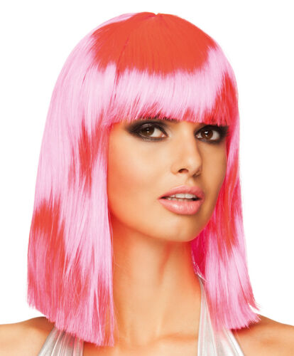 Women/'s Neon Pink Shoulder Length Wig Adult One Size Fancy Dress Party Accessory