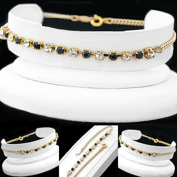 "All Sizes 7""-9"" Black & White 3mm Austrian Crystal 14k Gold Gl Bracelet 