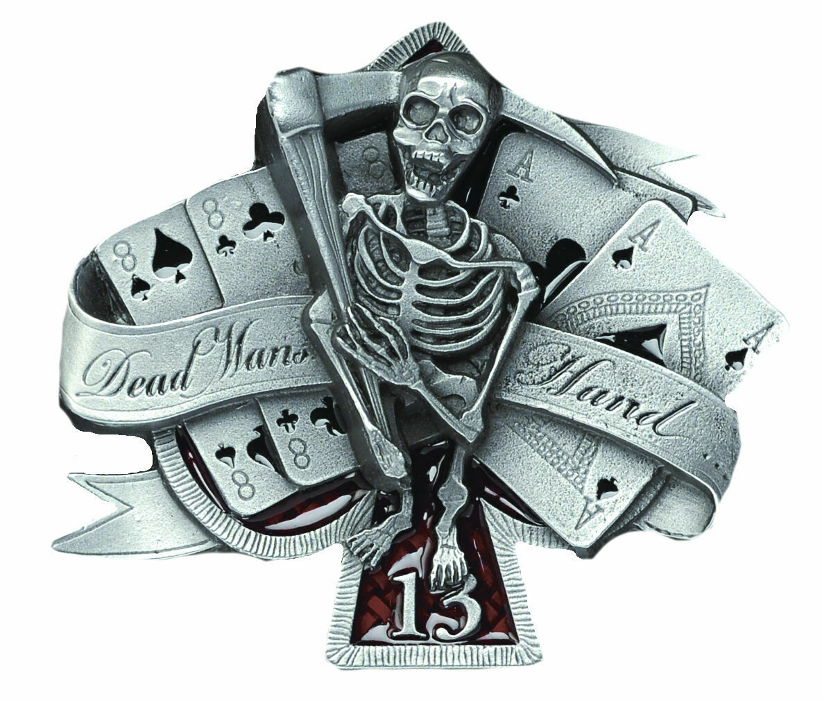 Dead Man's Hand Buckle with Belt, Gothic Poker Reaper Pagan Death Dragon Designs