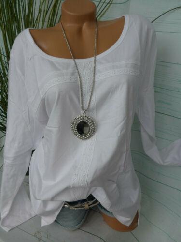 Sheego Femmes shirt manches longues taille 44//46 à 52//54 Blanc avec Dentelle Neuf 918