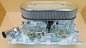 Edelbrock-5425-Chevy-SB-DQ-Intake-Set-Up-Performer-1404-Carbs-Linkage-More