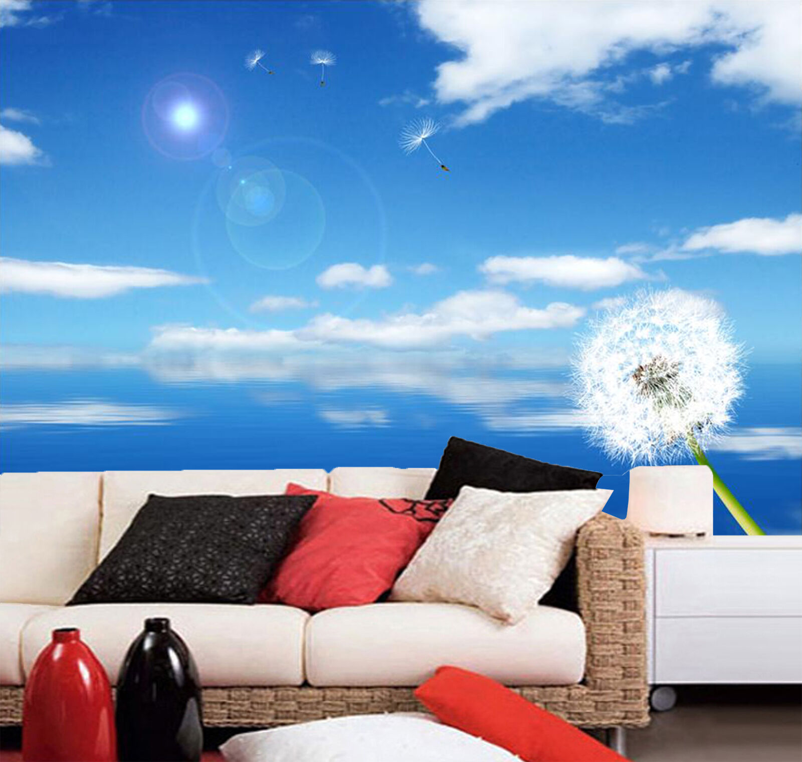 3D Dandelion And Sea Scenery Wall Paper Print Decal Wall Deco Indoor wall Mural