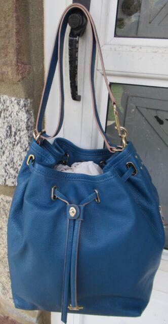Nwt Coach Authentic Leather Turnlock Tie Bucket Bag Liden Denim 475 34898