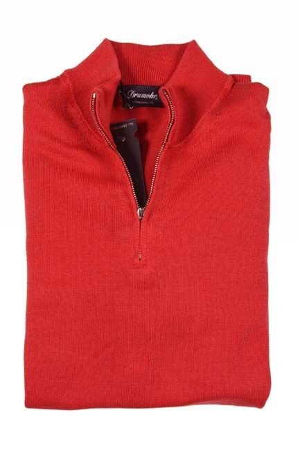 Drumohr Sweater: Small SALE  Soft coral ROT, 1/2 zip, pure cotton - slightly irr