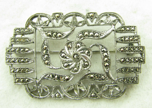 Vintage Marcasite & Silver Brooch Pins & Brooches