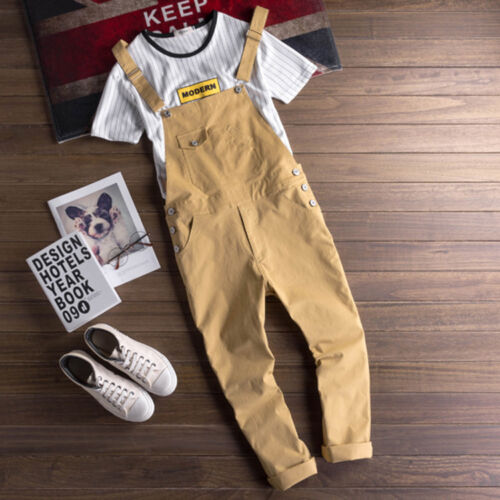 Fashion Men/'s Casual Suspender Overalls Pants Jumpsuits Cotton Trousers Rompers