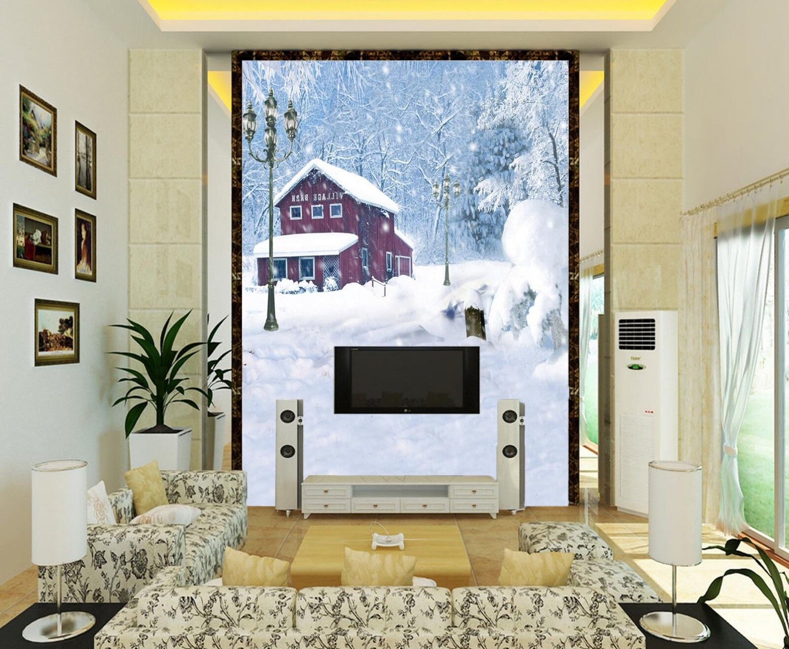 3D Snowing ROT House Paper Wall Print Wall Decal Wall Deco Indoor Murals