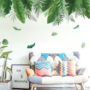 KQ_ Greenery Leaves Plant Wall Sticker Living Room Bedroom Home Decal Decor