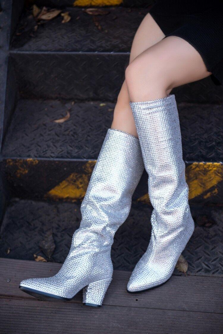 Sensual Mujer Tacones De Bloque De Alto Alto Alto Puntera en Punta botas a media CLAF botas de Diamantes de Imitación Cuero Fruncido 17a7d3