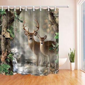 Tanstan Deer Decor Waterproof Fabric Elk Foggy Forest Shower Curtain