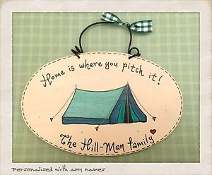 Image is loading PERSONALISED-Tent-Sign-Home-is-where-you-pitch-  sc 1 st  eBay & PERSONALISED Tent Sign Home is where you pitch it Name or names ...